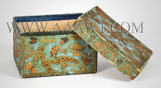 Nineteenth Century Blue Paper-Covered Cardboard Box, Fabric Decoupaged, entire view 3