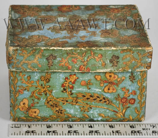 Nineteenth Century Blue Paper-Covered Cardboard Box, Fabric Decoupaged, scale view