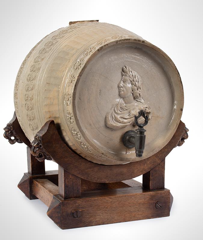 Rare Westerwald Gray Salt Glazed Cask, Keg, Portrait & Seal of Victor Amadeus, entire view 1