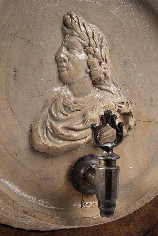 Rare Westerwald Gray Salt Glazed Cask, Keg, Portrait & Seal of Victor Amadeus, detail view 1