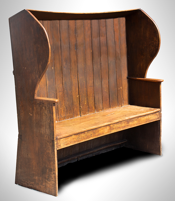 Settle, English Provincial, Hooded, High Curved Back, Wings, Great Patina, entire view