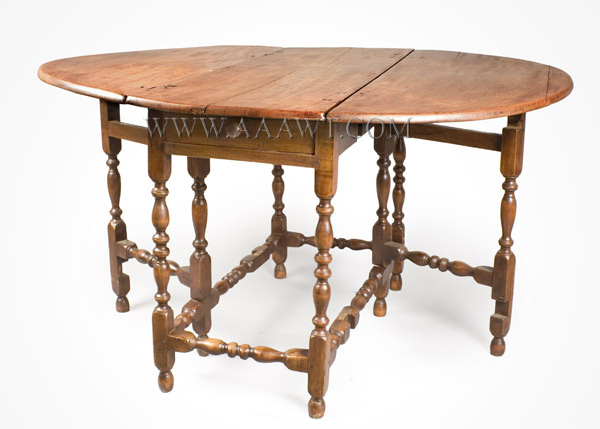 Gate Leg Table, William and Mary, Demilune, New England, angle view