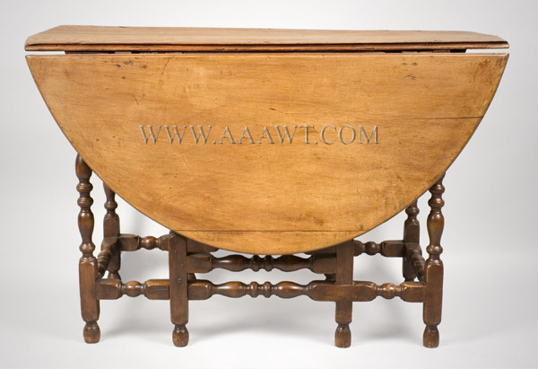 Gate Leg Table, William and Mary, Demilune, New England, entire view