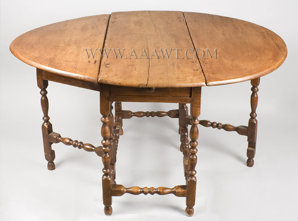 Gate Leg Table, William and Mary, Demilune, New England, leaves up