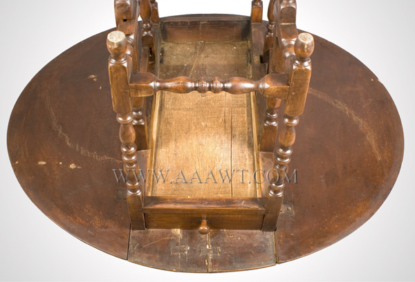 Gate Leg Table, William and Mary, Demilune, New England, underside view