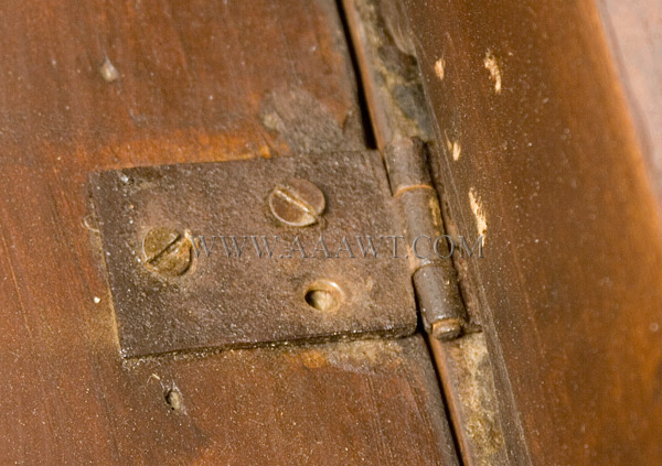Gate Leg Table, William and Mary, Demilune, New England, hinge view
