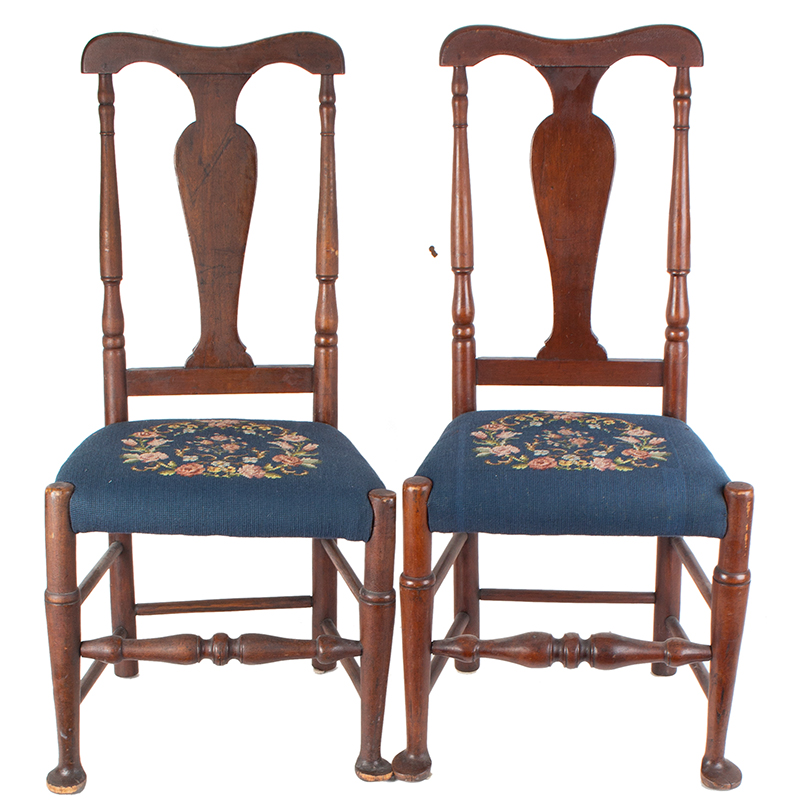 Pair of Queen Anne Side Chairs, Vasiform Splats, Pad Feet Connecticut or New York, entire view