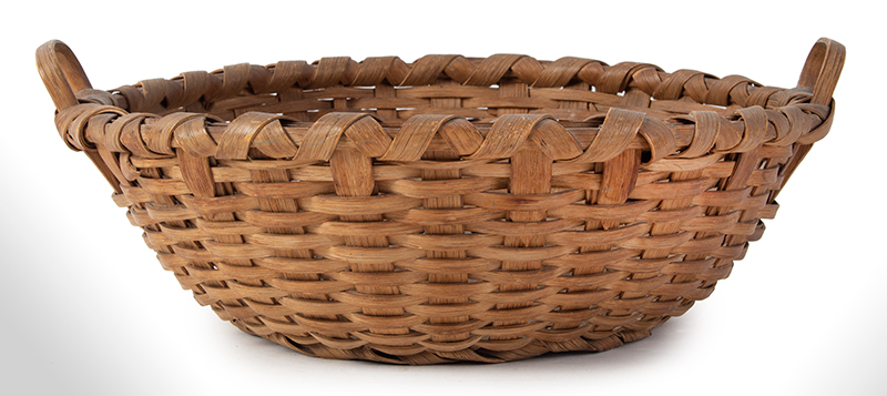 Antique Friendship Basket, Utility Basket, Taconic, Round, High Domed Center New York, entire view 1