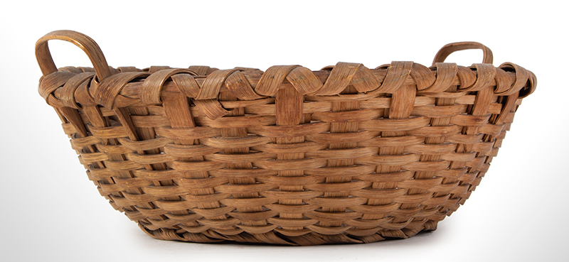 Antique Friendship Basket, Utility Basket, Taconic, Round, High Domed Center New York, entire view 2