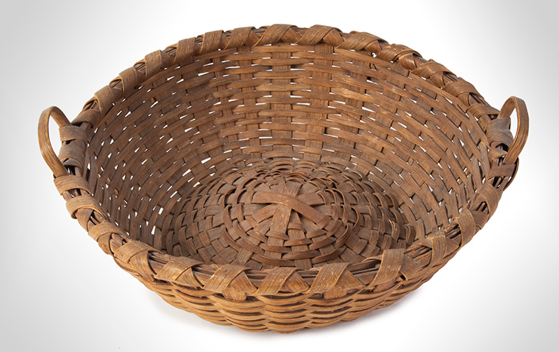 Antique Friendship Basket, Utility Basket, Taconic, Round, High Domed Center New York, entire view 3