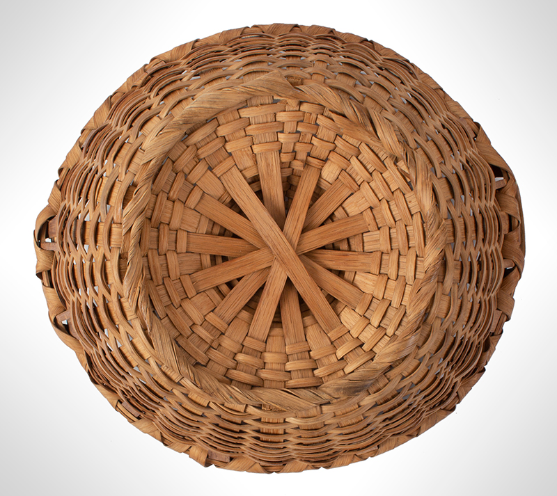 Antique Friendship Basket, Utility Basket, Taconic, Round, High Domed Center New York, bottom view