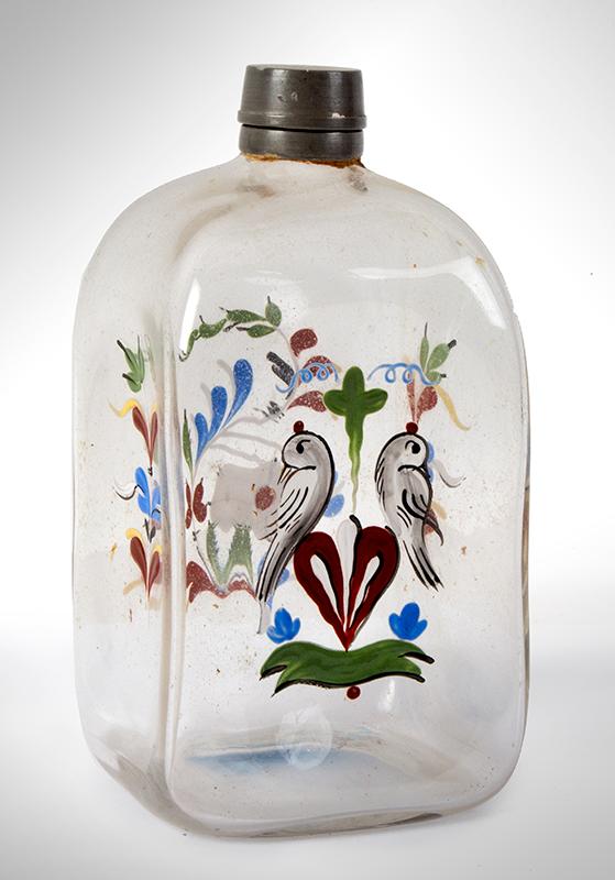 Stiegel Type Enameled Perfume Bottle, Elixir, entire view