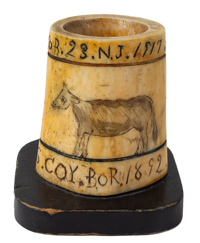 Scrimshawed Match Holder by Civil War Veteran, American Flag & Cow Made by C.T. Fenton / Co B. 23. N.J. / 1917; To. Mary. Frances. Coy. Bor. 1892, entire view