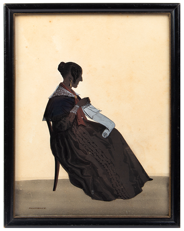 Silhouette, Seated Woman, Sewing, Gold Earrings, Red Scarf, Signed Beaumont English, entire view
