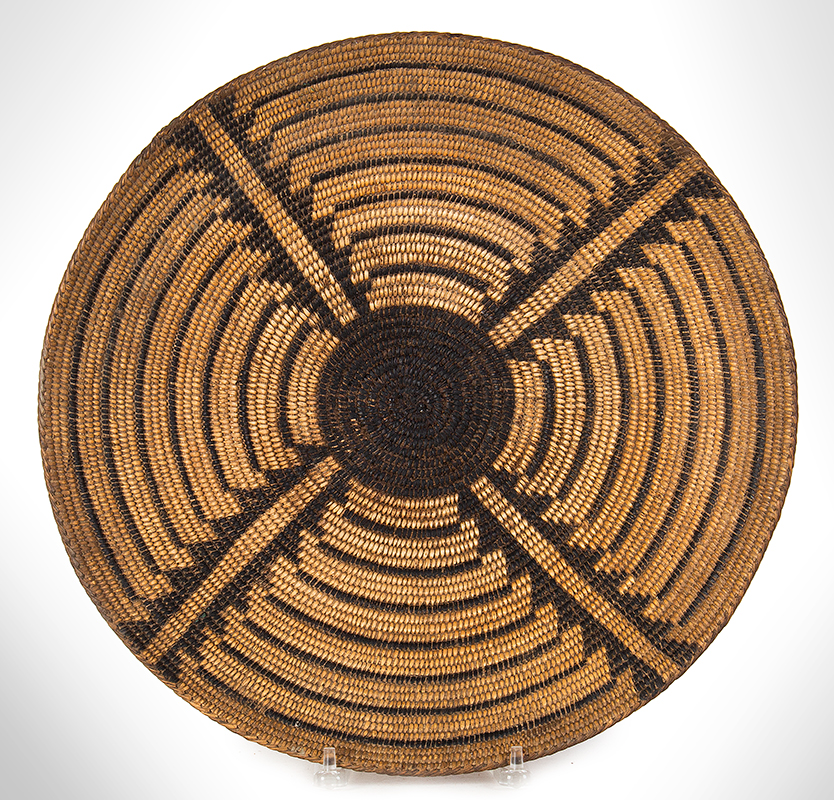 Pima Coiled Tray, Papago Basket Arizona, interior view