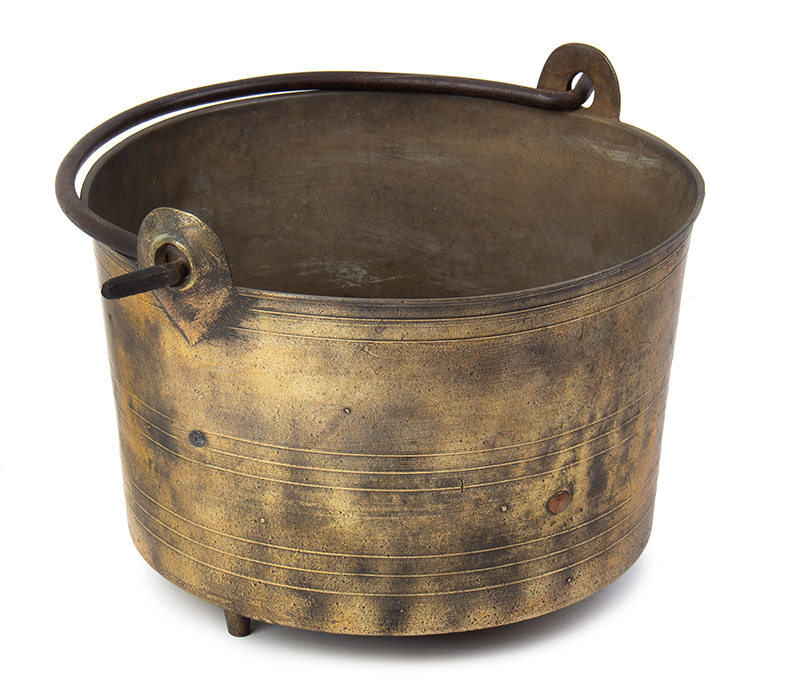 Brass Three-Legged Cauldron, Preserving Pan, Wrought Iron Handle, Make-Do Repair Likely England, entire view 1