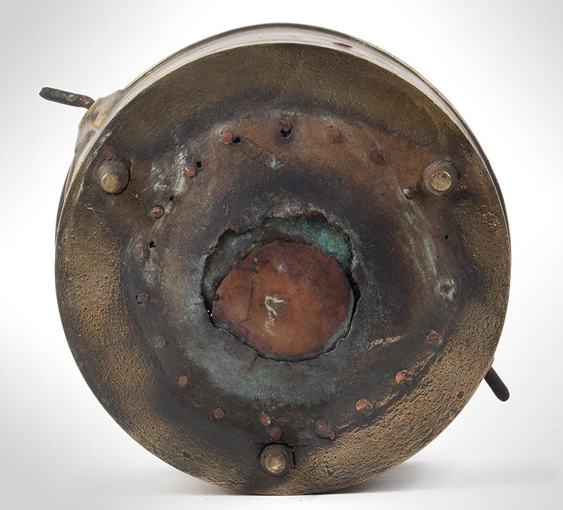Brass Three-Legged Cauldron, Preserving Pan, Wrought Iron Handle, Make-Do Repair Likely England, bottom view