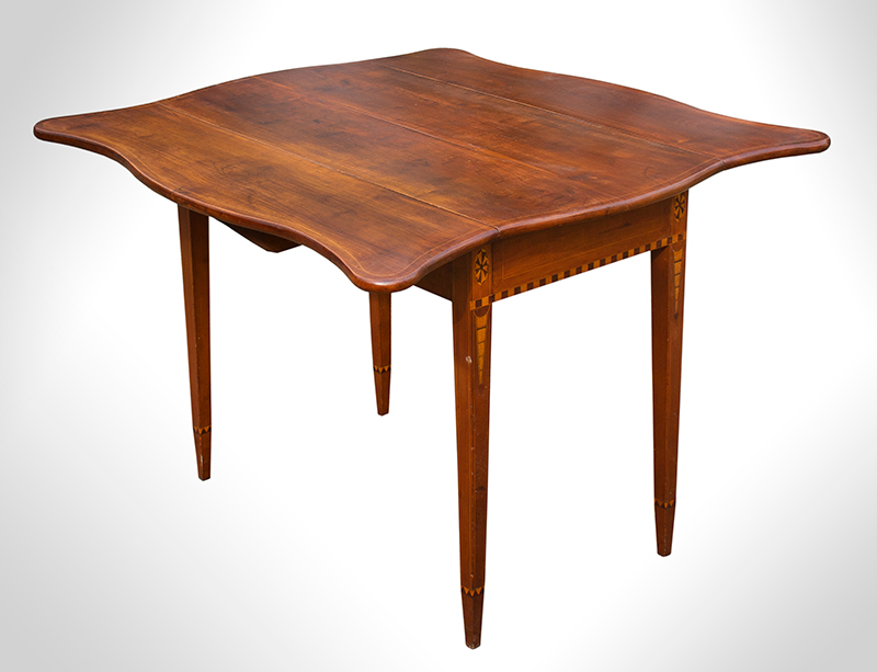 Federal Drop Leaf Table, Pembroke, Serpentine Leaves, Inlaid Worcester County, Massachusetts, entire view 1