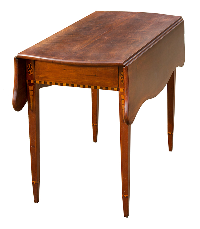 Federal Drop Leaf Table, Pembroke, Serpentine Leaves, Inlaid Worcester County, Massachusetts, entire view 2