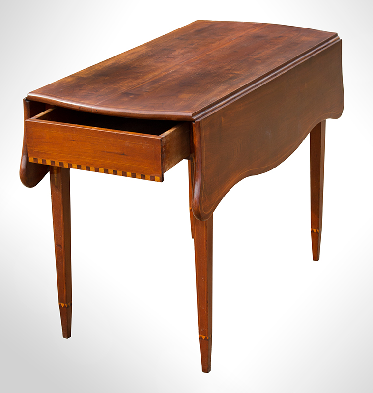 Federal Drop Leaf Table, Pembroke, Serpentine Leaves, Inlaid Worcester County, Massachusetts, entire view 3