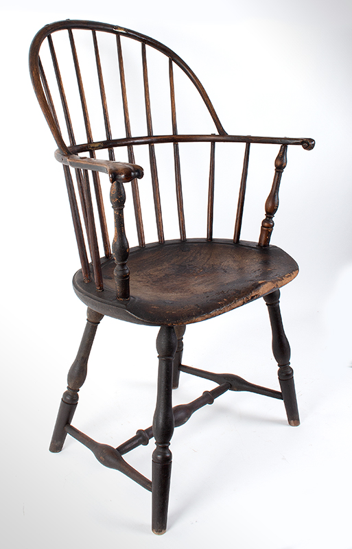 Knuckle Arm Windsor Sack Back Armchair in Old Surface New York, entire view 1