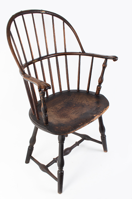 Knuckle Arm Windsor Sack Back Armchair in Old Surface New York, entire view 2