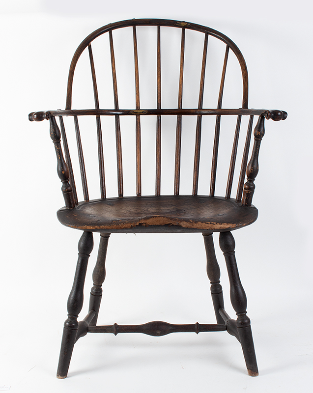 Knuckle Arm Windsor Sack Back Armchair in Old Surface New York, entire view 3