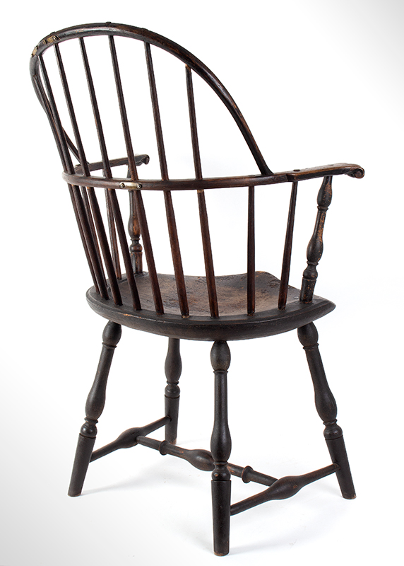 Knuckle Arm Windsor Sack Back Armchair in Old Surface New York, entire view 4