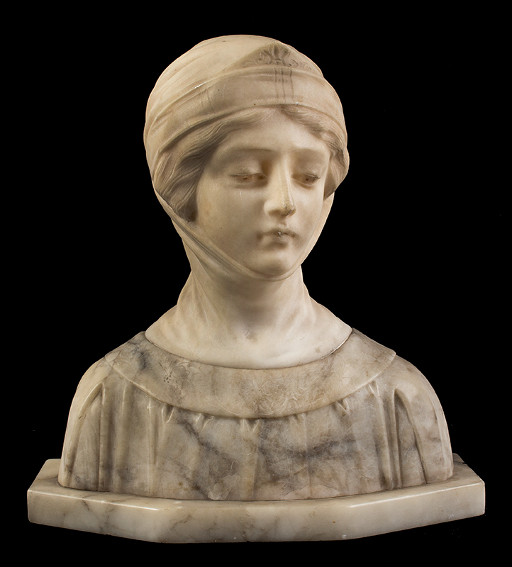 Dante's Beatrice, Marble & Alabaster Portrait Bust, entire view 1
