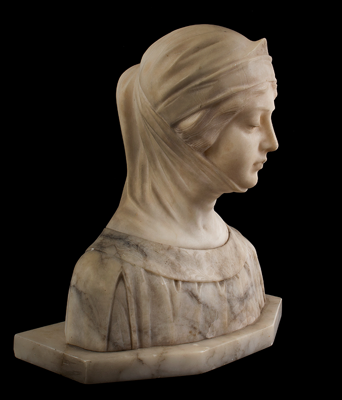 Dante's Beatrice, Marble & Alabaster Portrait Bust, entire view 2