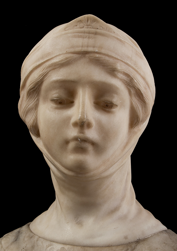 Dante's Beatrice, Marble & Alabaster Portrait Bust, entire view 4