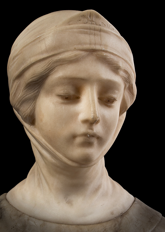 Dante's Beatrice, Marble & Alabaster Portrait Bust, entire view 5