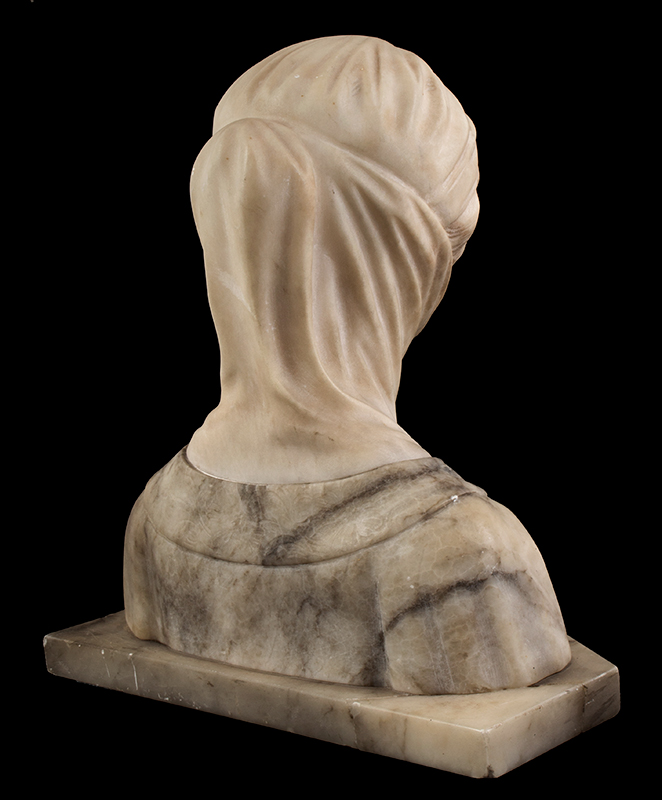 Dante's Beatrice, Marble & Alabaster Portrait Bust, entire view 6