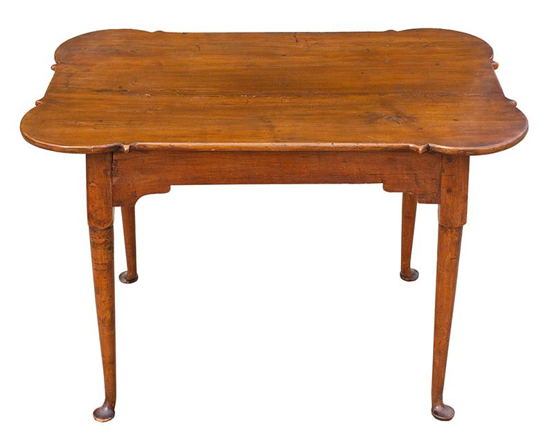 Queen Anne Porringer Top Tea Table, Rectangular, Turned Legs, Pad Feet Rhode Island, entire view 1