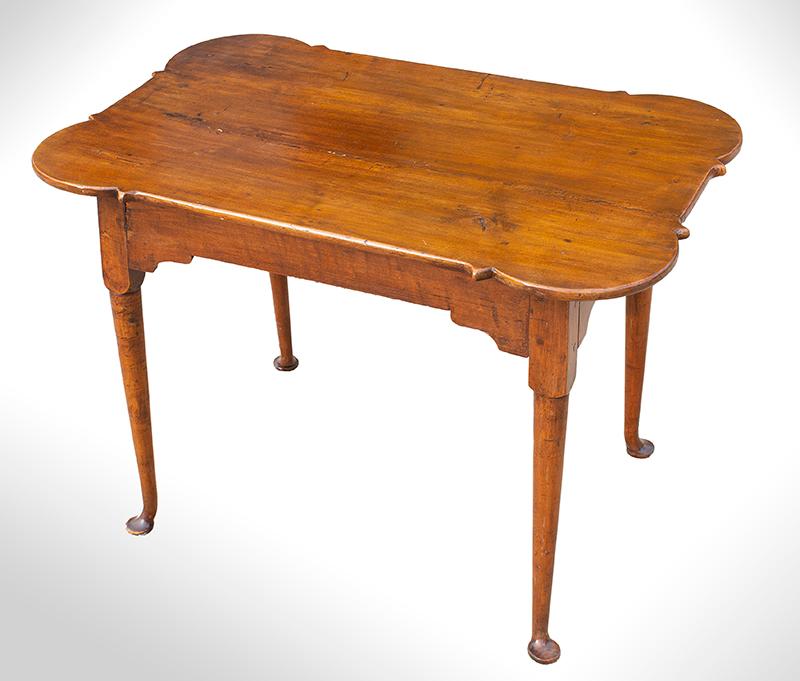 Queen Anne Porringer Top Tea Table, Rectangular, Turned Legs, Pad Feet Rhode Island, entire view 2