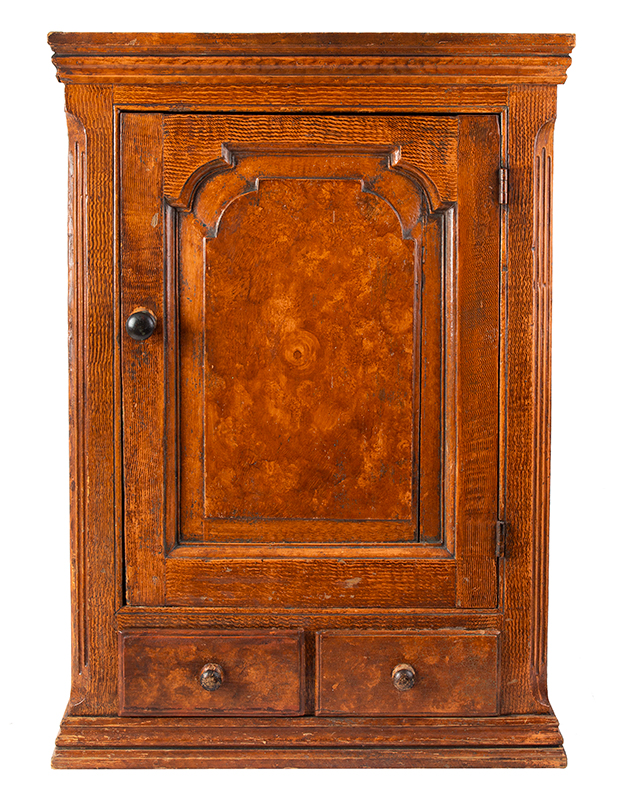 Hanging Wall Cupboard, Carved Raised Panel Door, Paint Decorated Likely Pennsylvania, entire view
