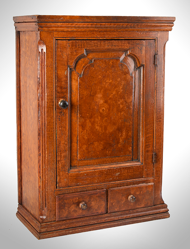 Hanging Wall Cupboard, Carved Raised Panel Door, Paint Decorated Likely Pennsylvania, entire view 2