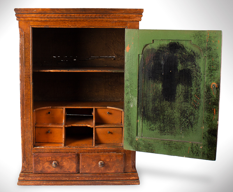 Hanging Wall Cupboard, Carved Raised Panel Door, Paint Decorated Likely Pennsylvania, entire view 3