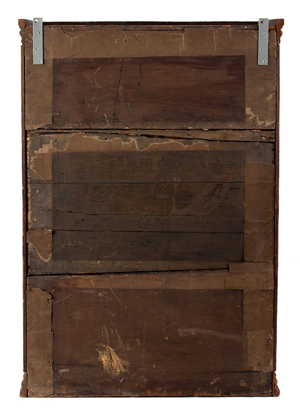 Hanging Wall Cupboard, Carved Raised Panel Door, Paint Decorated Likely Pennsylvania, back view