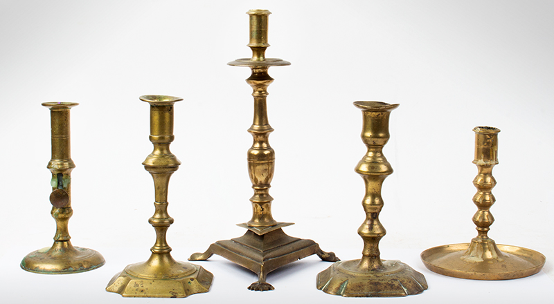Period Brass Candlesticks, Lot of Five, entire view