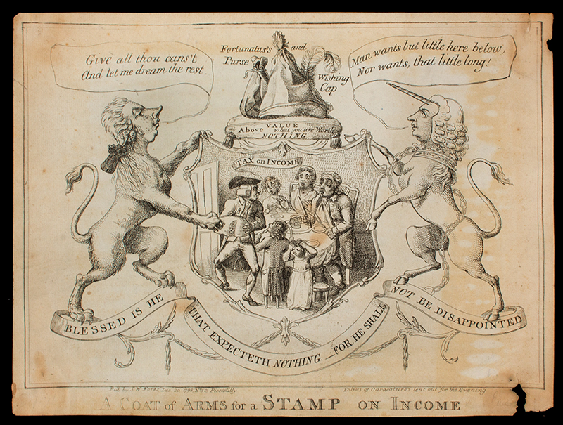 Satirical Print, A Coat of Arms for a Stamp on Income, 1798, RARE Lettered with title, text within, artist's name and publishing details: 'Pub by SW Fores, Dec. 20. 1798, No 50, Piccadilly - Folio's of Caracatures [sic] lent out for the Evening', entire view