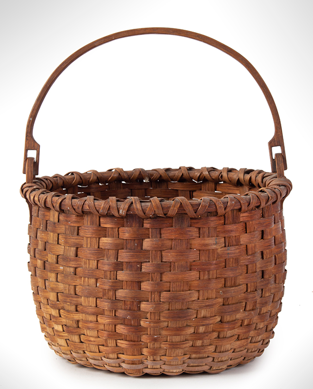 Antique Basket, Taconic, Round, Swing Handle, Domed Center New York, entire view 2
