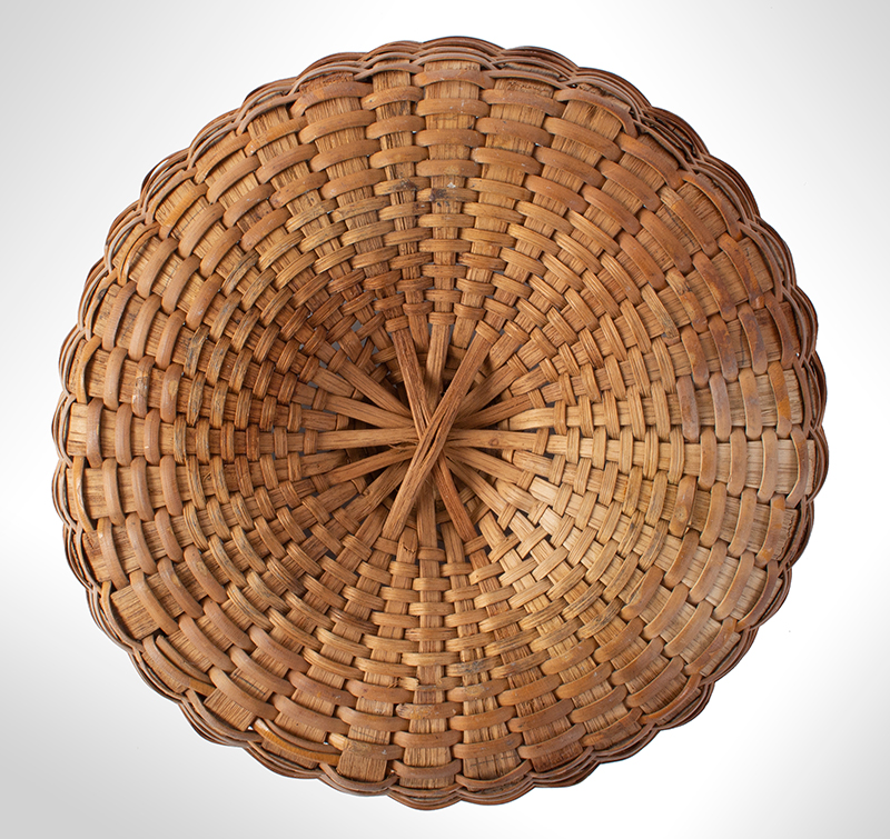 Antique Basket, Taconic, Round, Swing Handle, Domed Center New York, bottom view