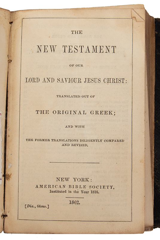 Identified Civil War Pocket Bible, New Testament American Bible Society, 1862, New York, entire view 1