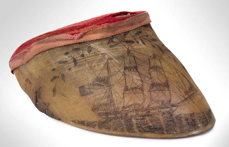 Nautical Pin Cushion, Scrimshawed Bovine Hoof Horn, entire view 1