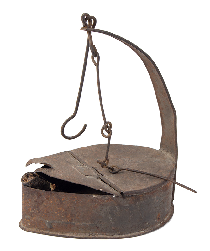 Betty Lamp, Hanging Oil/Fat Lamp, Tinned Sheet Iron American, entire view