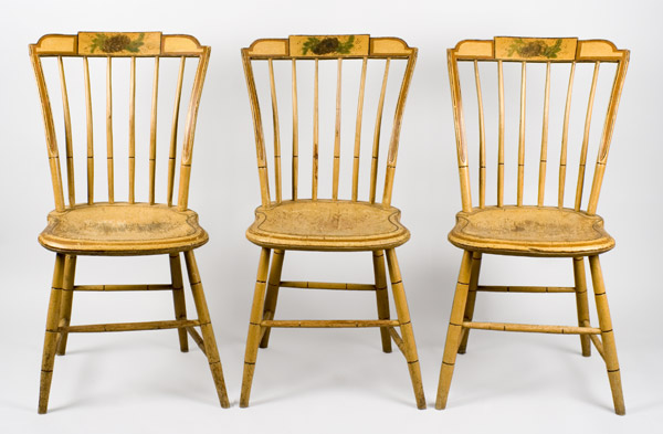 19th Century, Matched Set, Windsor Dining Chairs, Painted New England, circa 1810-1820 Shaped Tablets…stepped-down ends, entire view 1