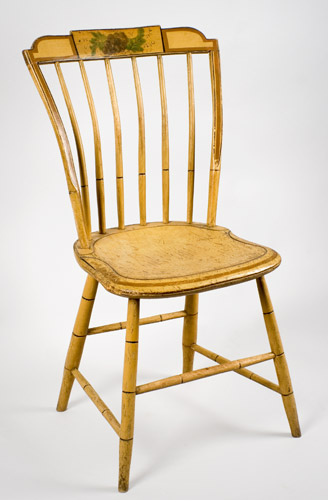 19th Century, Matched Set, Windsor Dining Chairs, Painted New England, circa 1810-1820 Shaped Tablets…stepped-down ends, entire view 3
