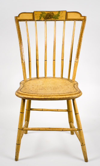 19th Century, Matched Set, Windsor Dining Chairs, Painted New England, circa 1810-1820 Shaped Tablets…stepped-down ends, entire view 4