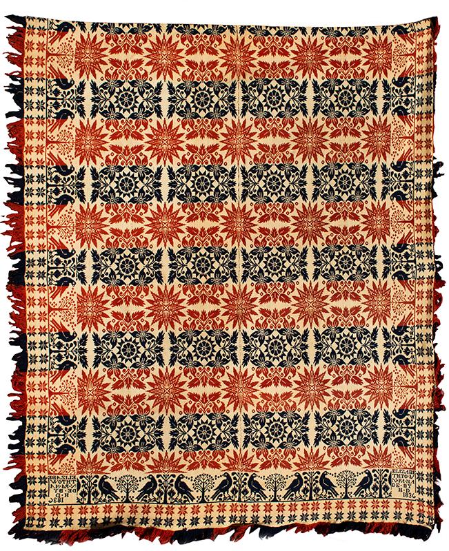 Woven Beiderwand Coverlet, Jacquard, Lilies & Stars Pattern, Bird & Bush Border, 1836 Elizabethtown, Pennsylvania, entire view 1